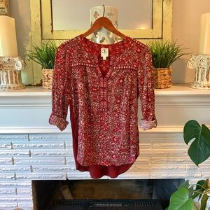 Anthro One September Burgundy Embroidered Top XS